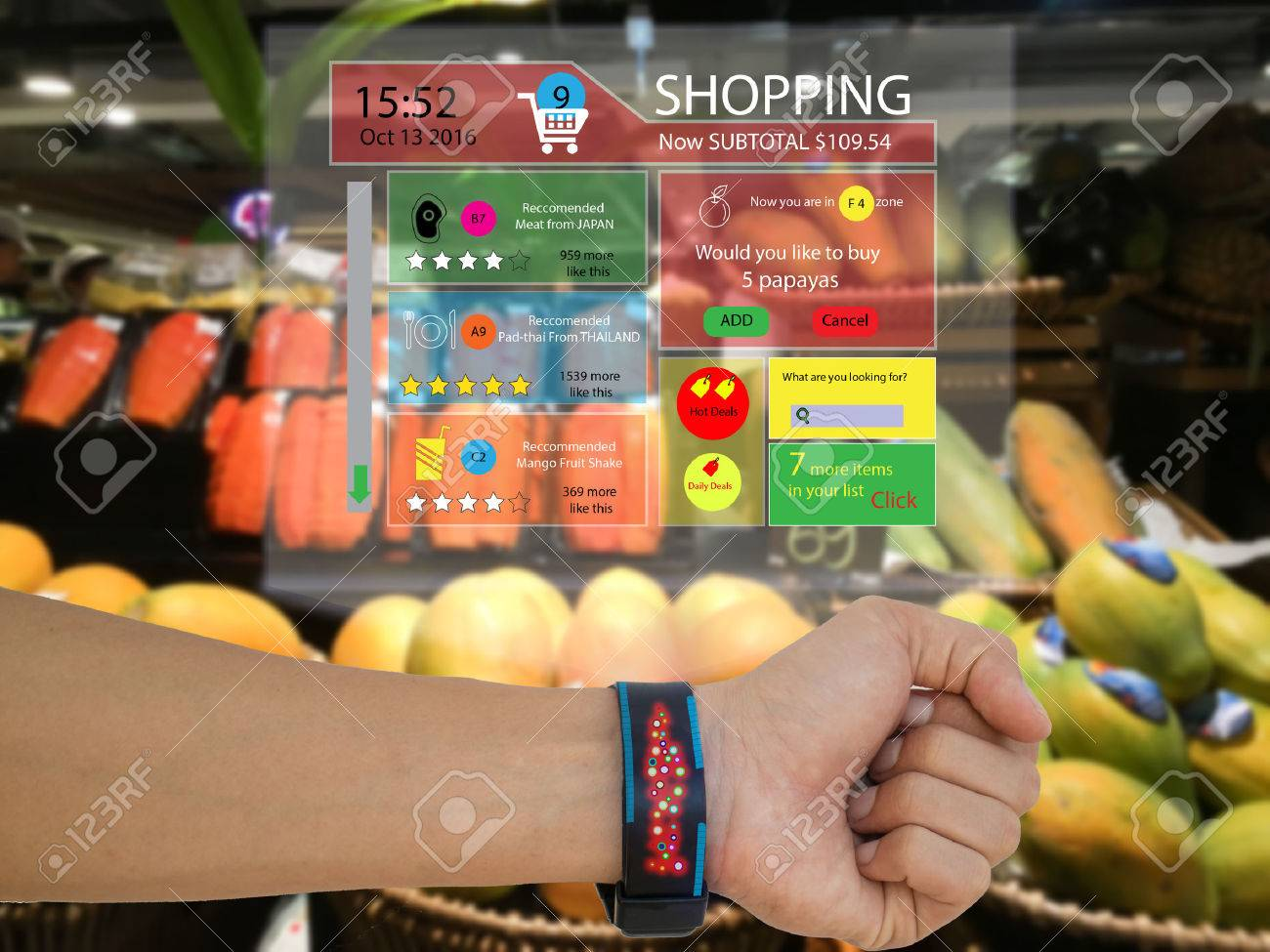 iot,internet of things marketing concept,man wear a smart watch with augmented reality technology to see the data which recommended by retail,the application show subtotal,recommended ,search engine - 78949099