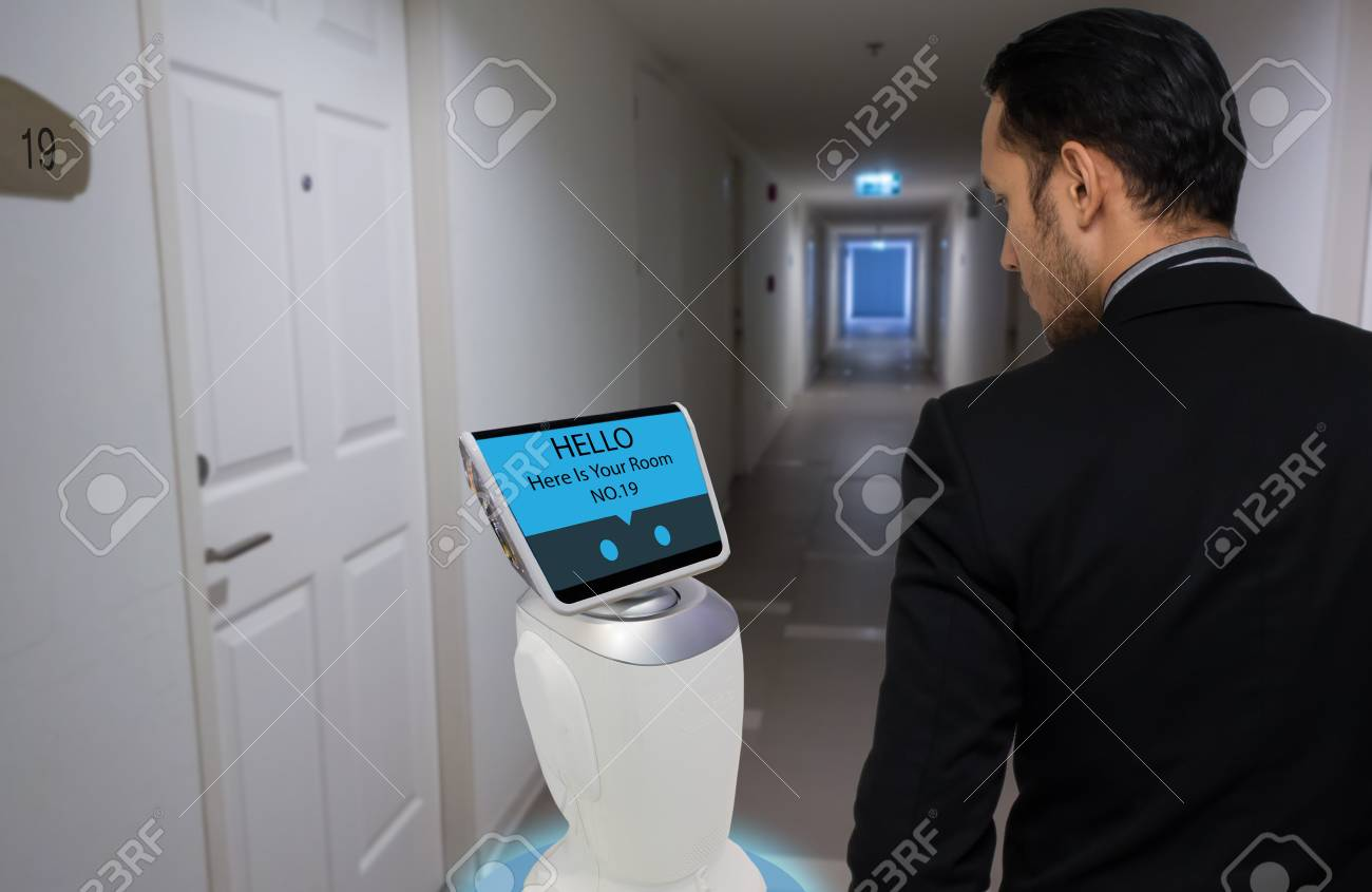 robot in hotel concept, robotic butler help the customer to the room that booking, put the object, food, accessories inside it. - 86215741