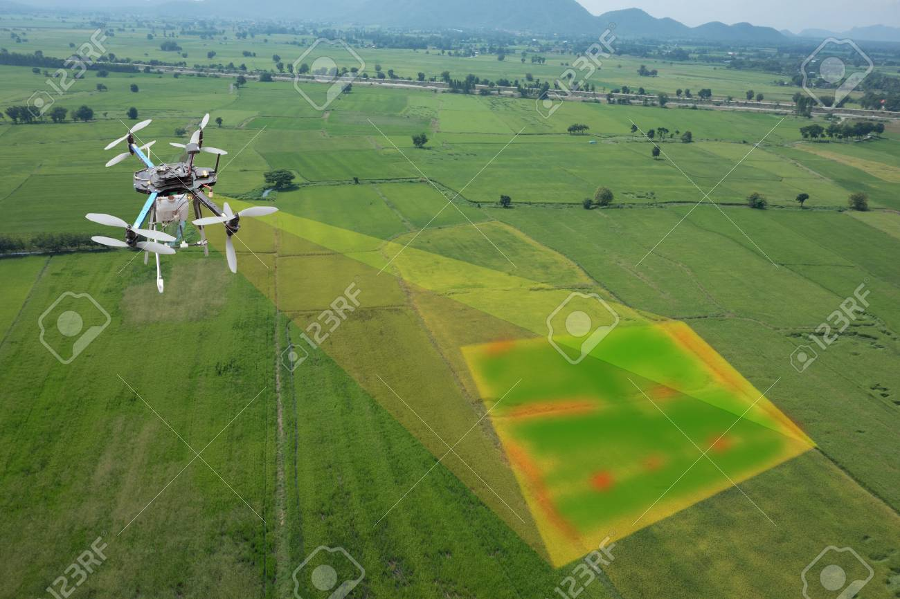 drone for agriculture, drone use for various fields like research analysis, safety,rescue, terrain scanning technology, monitoring soil hydration ,yield problem and send data to smart farmer on tablet - 86500674