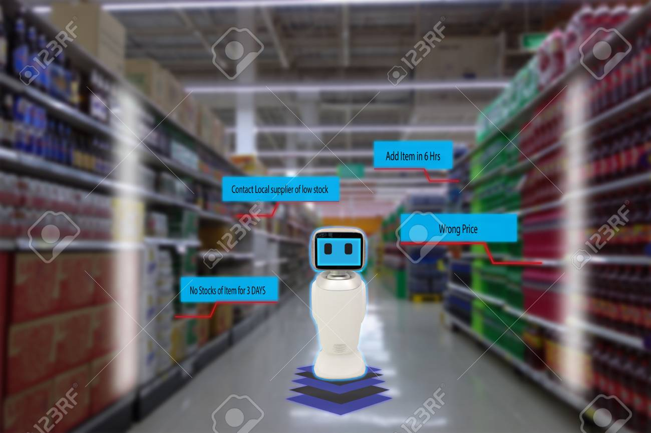 smart retail concept, robot service use for check the data of or Stores that stock goods on shelves with easily-viewed barcode and prices or photo compared against an idealized representation of store - 86500680