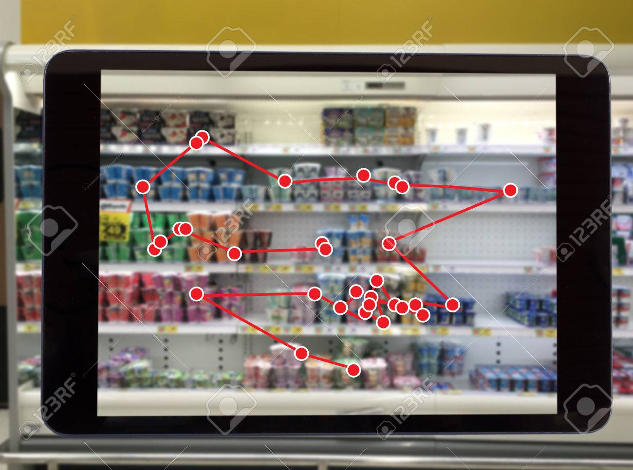 smart retail concept, robot service use for check the data of or Stores that stock goods on shelves with easily-viewed barcode and prices or photo compared against an idealized representation of store - 86500682