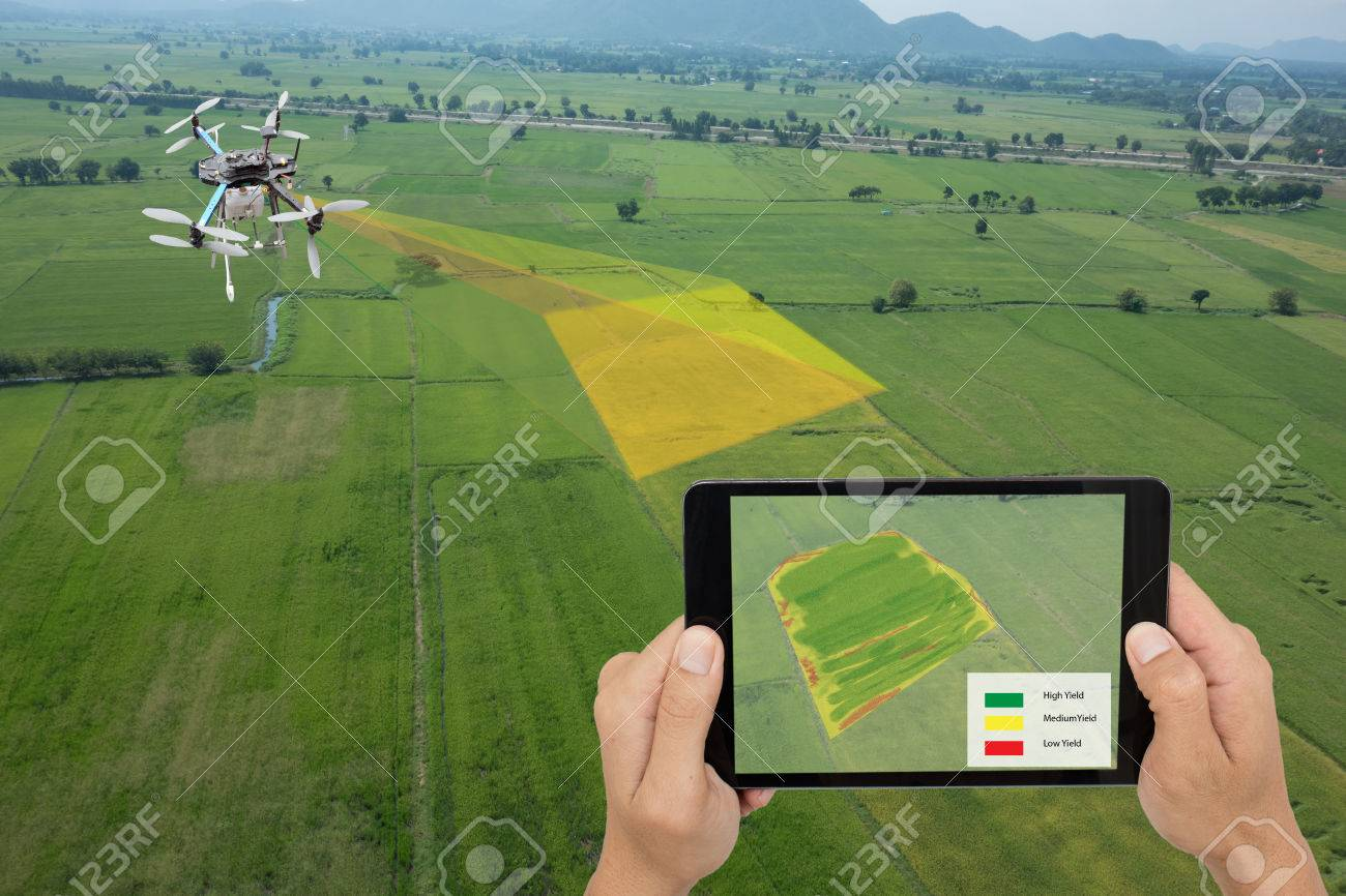 drone for agriculture, drone use for various fields like research analysis, safety,rescue, terrain scanning technology, monitoring soil hydration ,yield problem and send data to smart farmer on tablet - 86500685