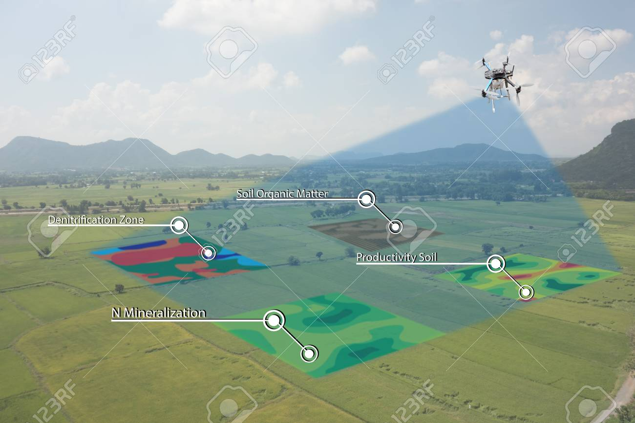 smart agriculture concept, farmer use infrared in drone with