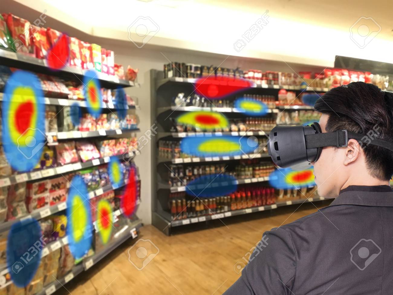 Augmented and virtual reality technology futuristic concept, Retailer use augmented combine virtual reality technology to find the data of eye tracking heat map to management, analysis, to improve - 89585340