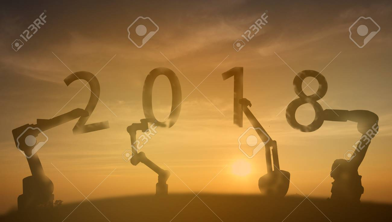 2018 Robotics Arm Lift Up The 2018 New Year Number With Sunrise
