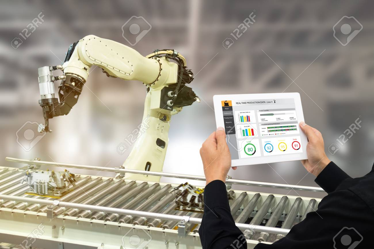 iot industry 4.0 concept,industrial engineer using software (augmented, virtual reality) in tablet to monitoring machine in real time.Smart factory use Automation robot arm in automotive manufacturing - 93721412