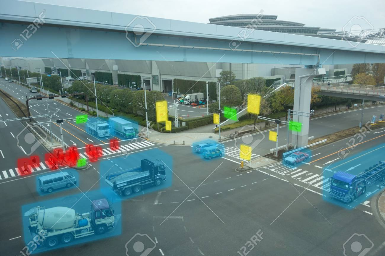 iot smart automotive Driverless car with artificial intelligence combine with deep learning technology. self driving car can situational awareness around the car, letting it navigate itself 360 degree - 93721455