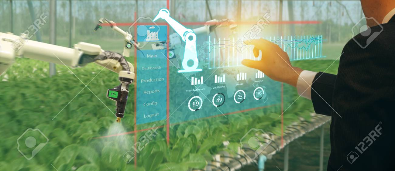 iot smart industry robot 4.0 agriculture concept,agronomist,farmer(blurred) using smart glasses (augmented mixed virtual reality,artificial intelligence technology) to monitoring autonomous robotics - 105716343