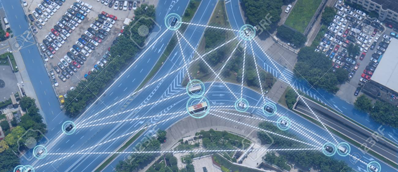 iot smart automotive Driverless car with artificial intelligence combine with deep learning technology. self driving car can situational awareness around the car, letting it navigate itself 360 degree - 113665832