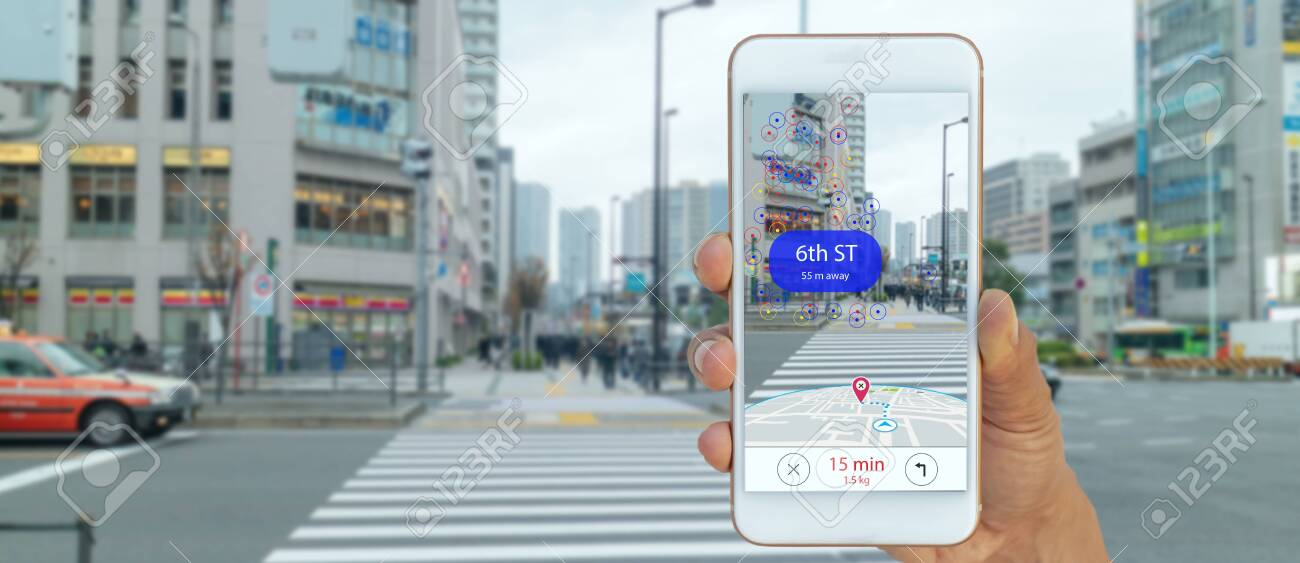 map use ai, artificial intelligence algorithms to determine what individuals want to see When GPS location service are turned on and the Maps app is opened ,popups that can direct the user to landmark - 132538241