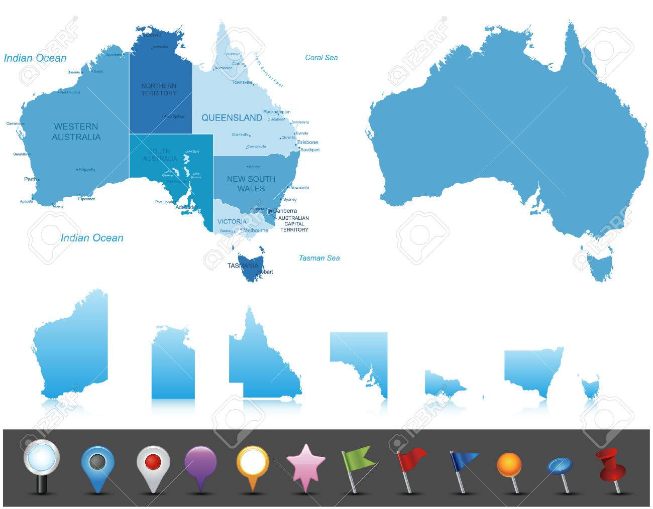 Map Of Australia Labeled.Australia Highly Detailed Map All Elements Are Separated In