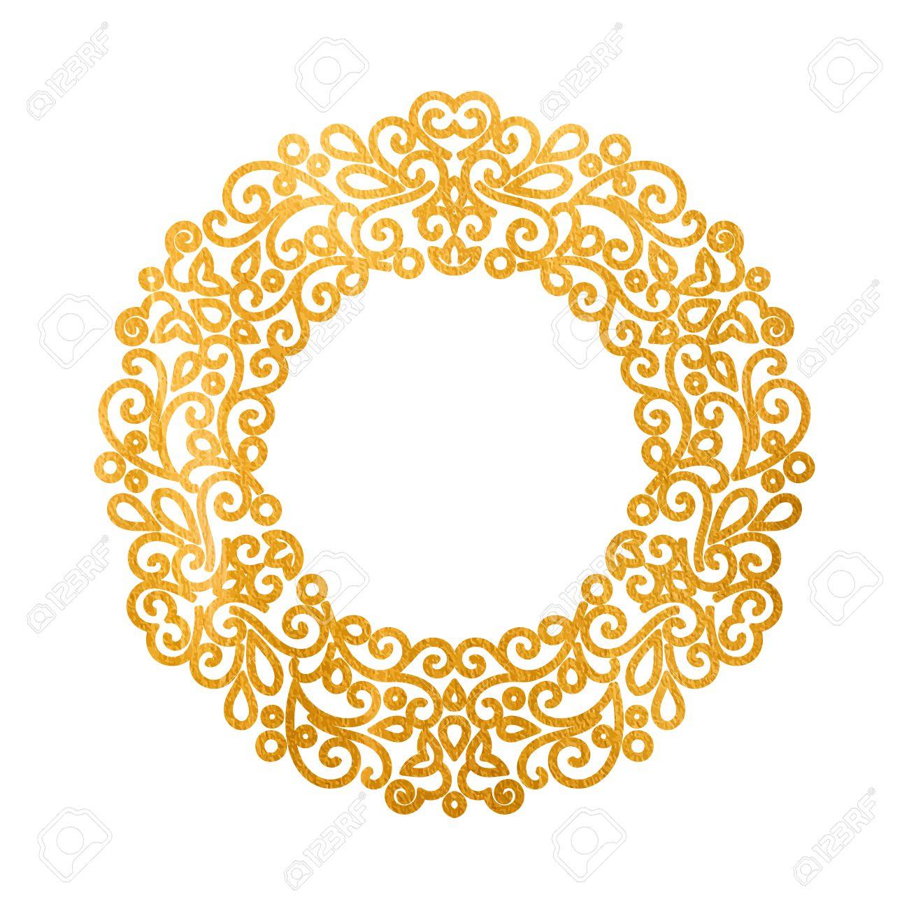 Elegant Luxury Retro Golden Floral Round Frame. Design Template ...
