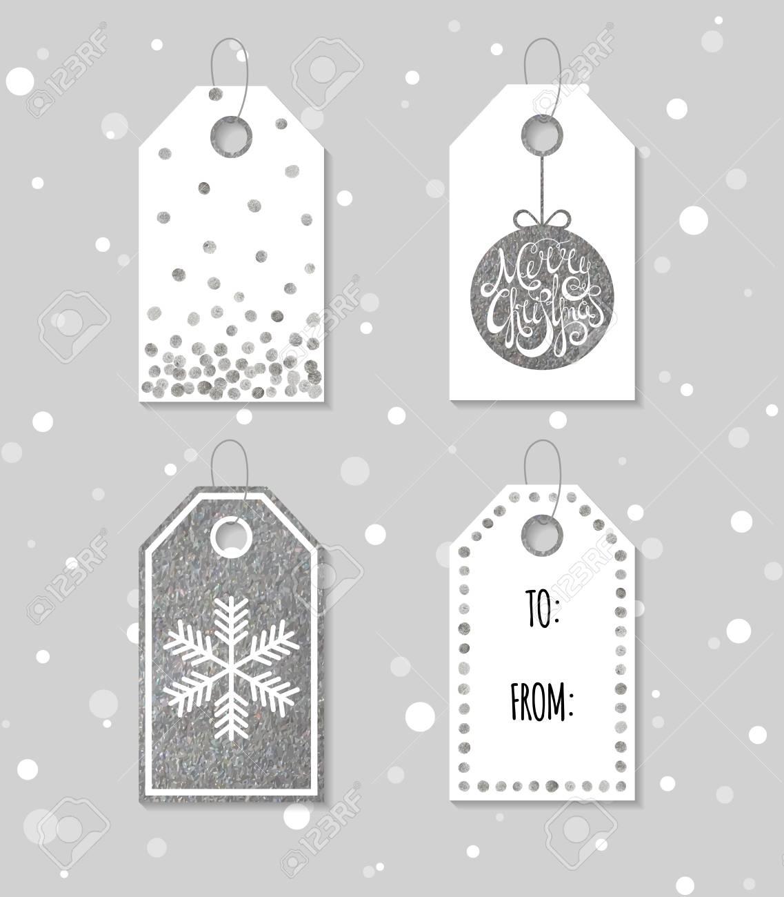 Colección De Cuatro De Plata Textura Etiquetas De Regalo De Navidad ...