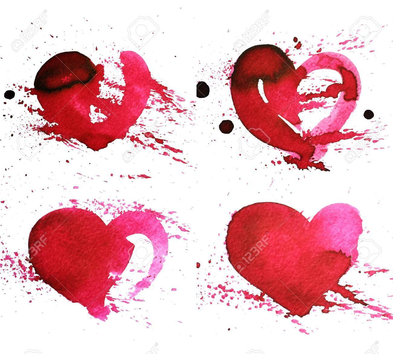 Set Of Four Hand-drawn Watercolour Red Heart With Splatter On ...