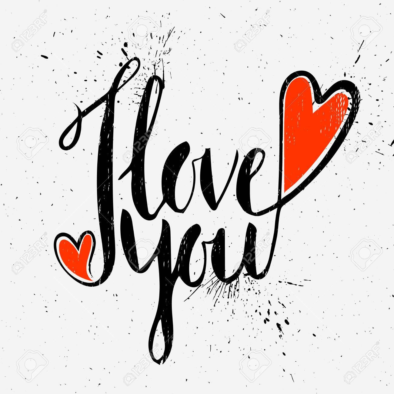 Grunge textured handwritten calligraphic inscription I love you on light background. Lettering design element for greeting card, banner, invitation, postcard, vignette, flyer. Vector illustration. - 51157837