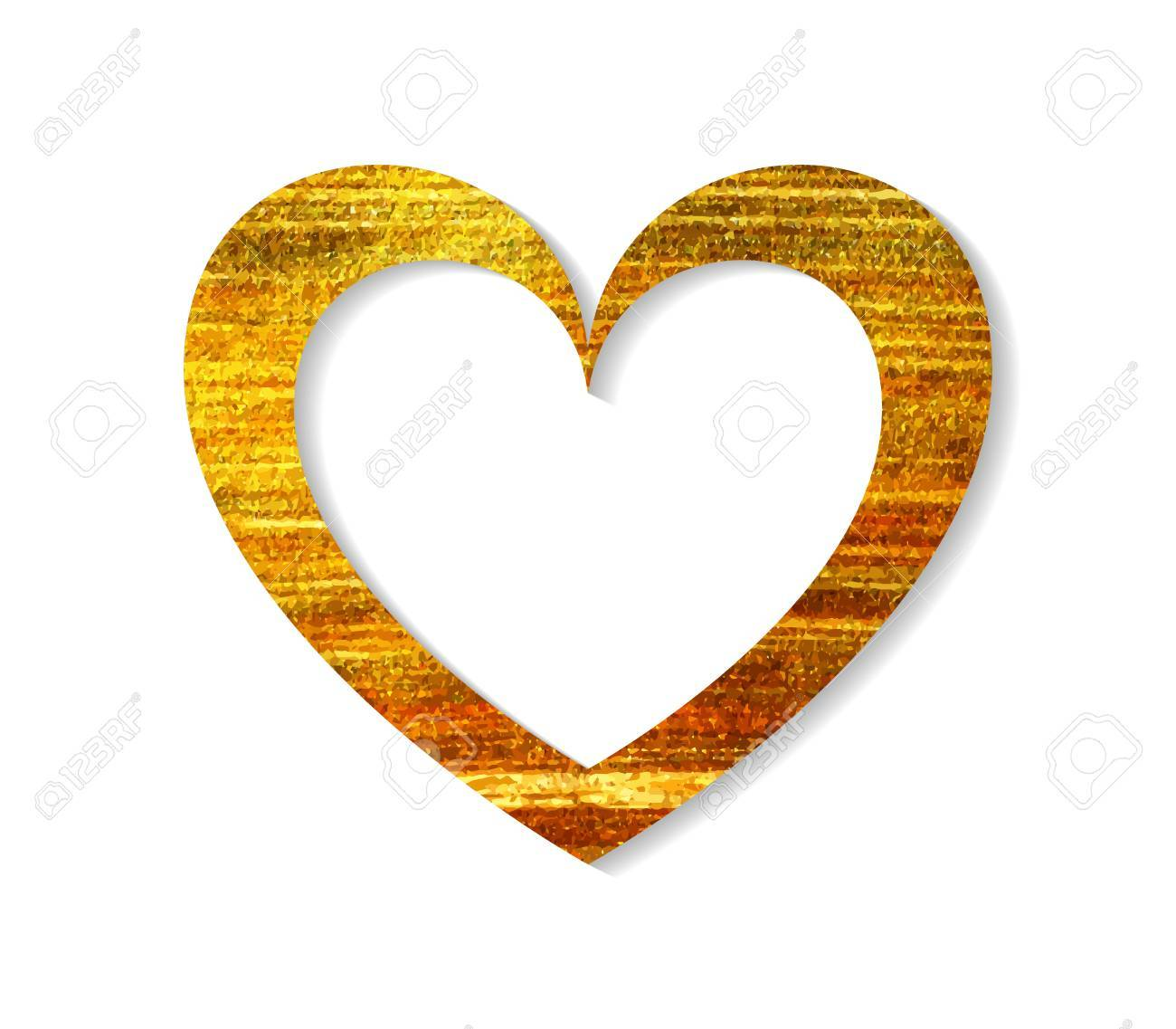 Gold Heart Frame On A White Background Design Element For Valentine Royalty Free Cliparts Vectors And Stock Illustration Image 51907029