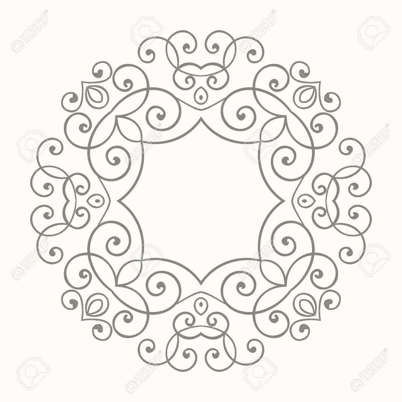 Elegante Marco Floral Retro De Lujo. Plantilla De Diseño Para Banner ...