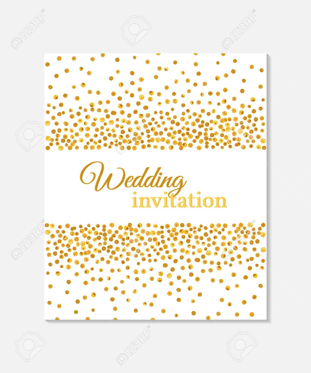 Wedding invitation card with falling golden dots on white background. Vector template. You can use it for invitation, flyer, postcard, greeting card, banner etc. - 51907028