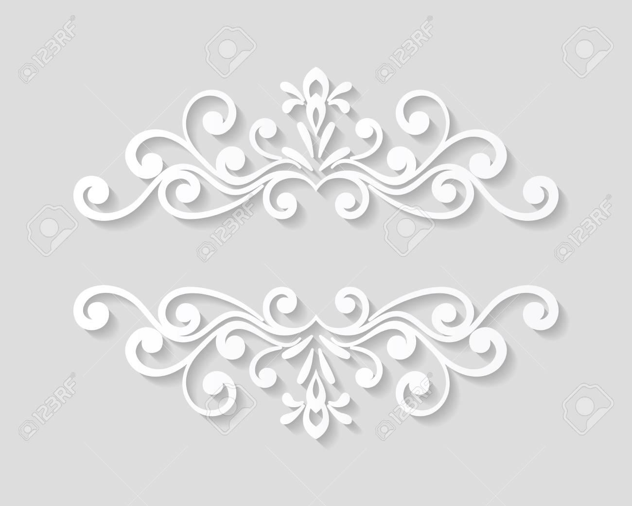 Elegant Paper Retro Floral Border. Hand Drawn Vintage Design Template For  Banner, Greeting Card