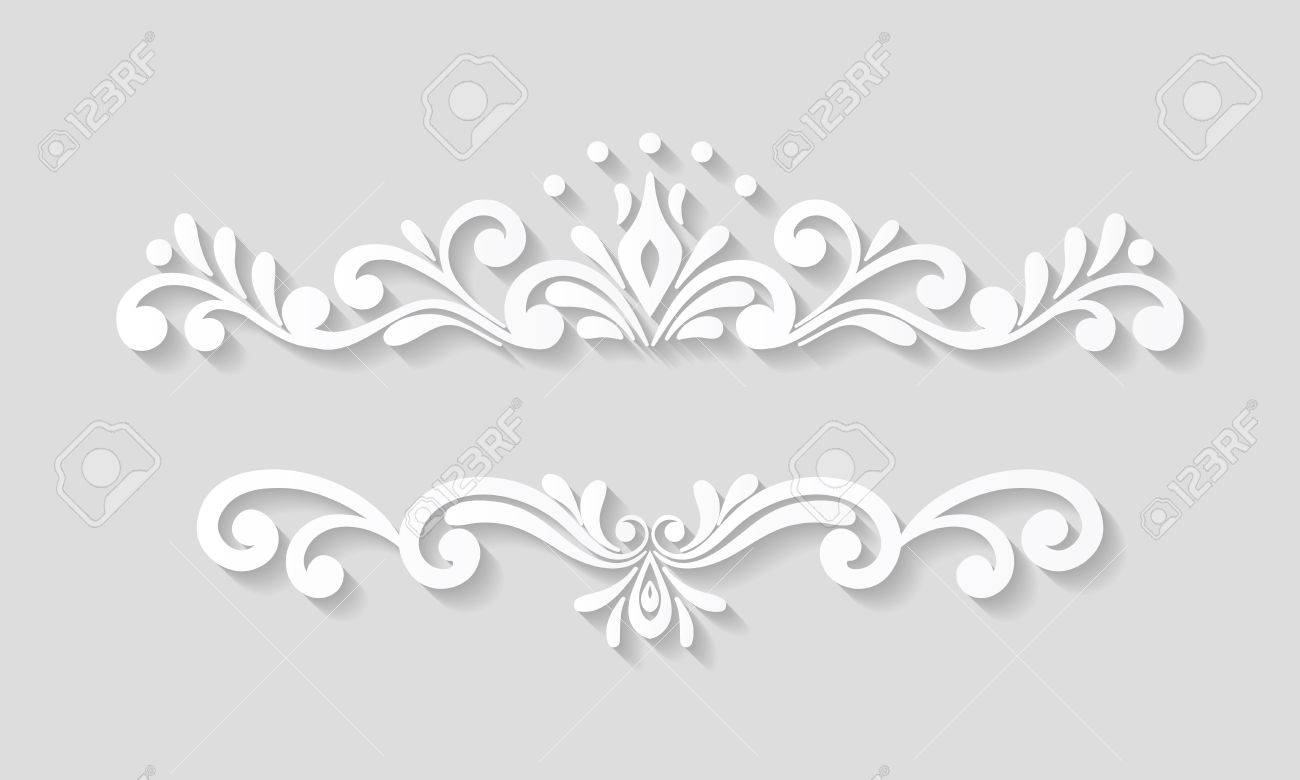 Elegant Paper Retro Floral Border. Hand Drawn Vintage Design Template For  Banner, Greeting Card  Paper Border Designs Templates