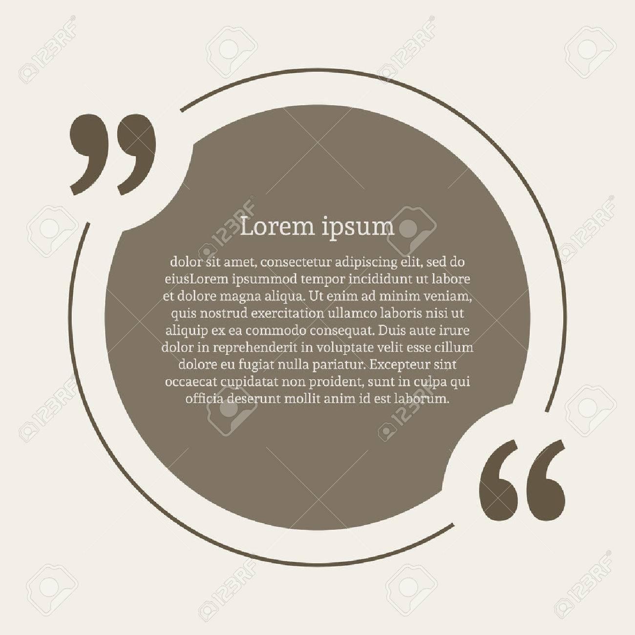 Quotation mark speech bubble. Empty quote blank citation template. Round design element for business card, paper sheet, information, note, message, motivation, comment etc. Vector illustration. - 54428809
