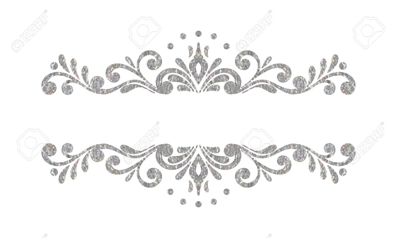 elegant luxury vintage silver floral hand drawn decorative border
