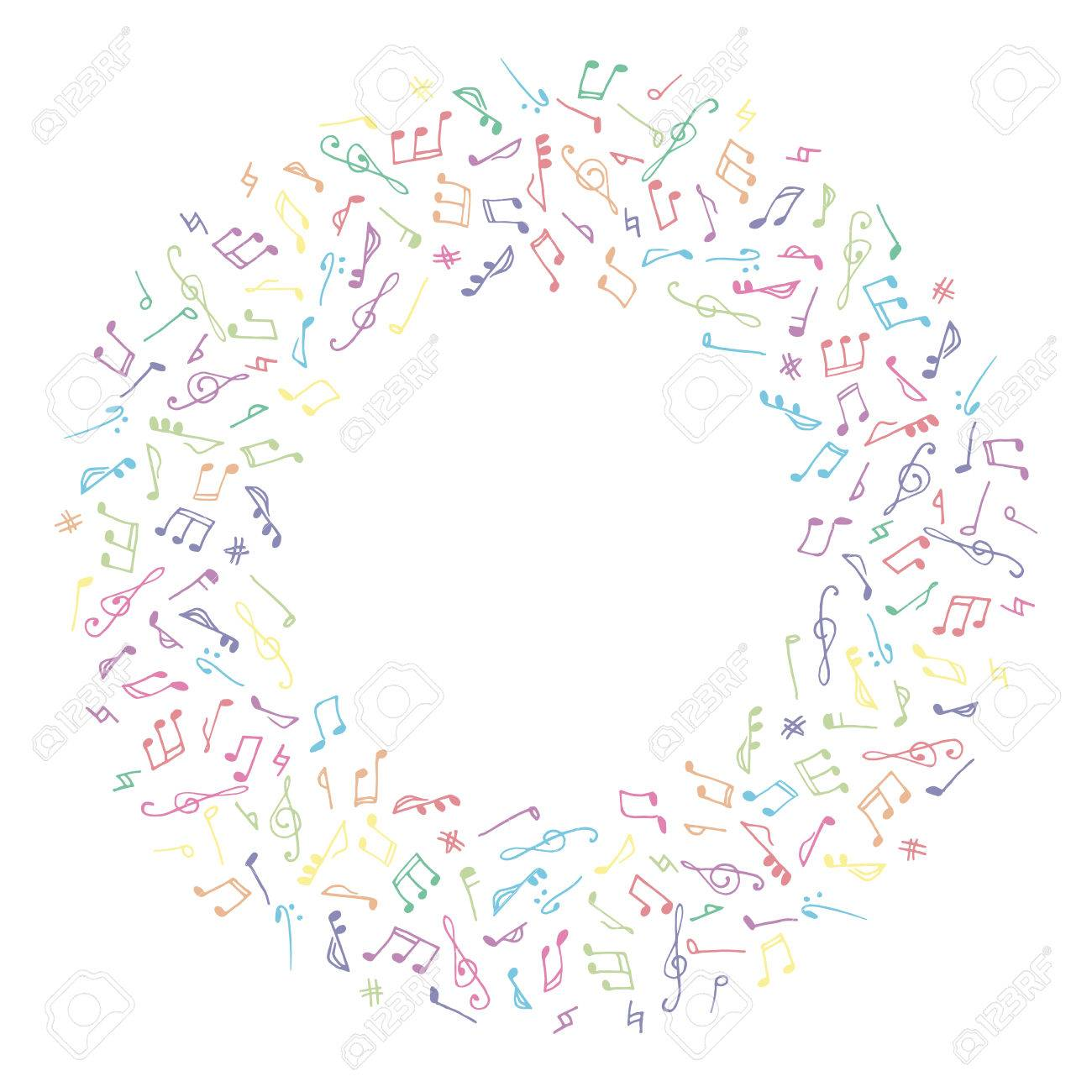 Circle Colorful Music Frame In Doodle Style On White Background ...