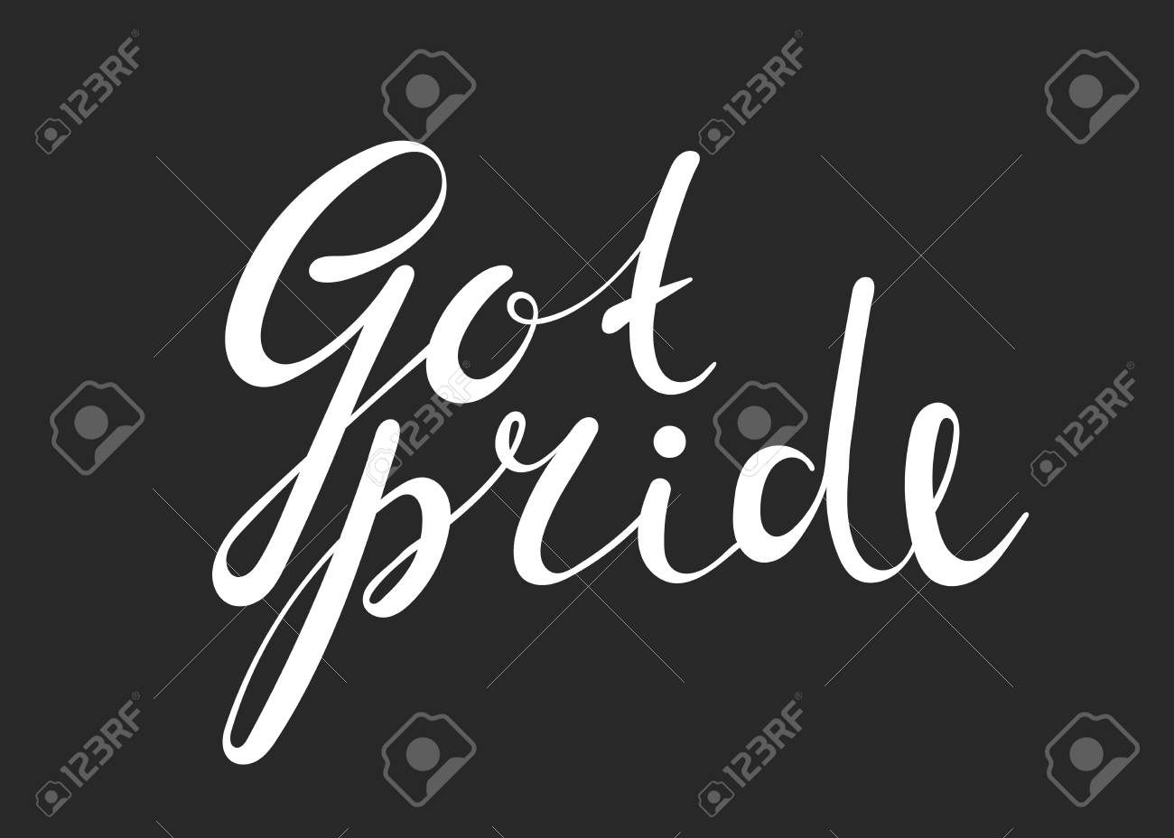 Got pride handwriting inscription on black background calligraphy
