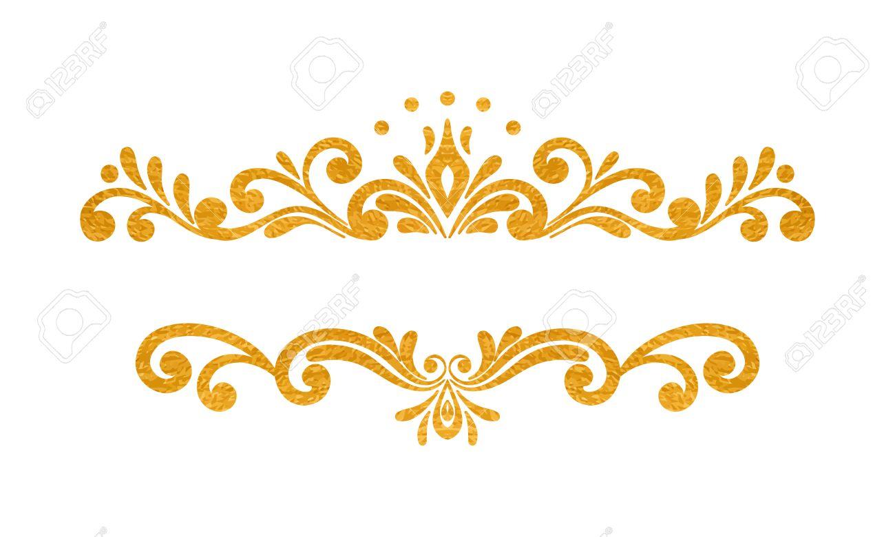 elegant luxury vintage gold floral hand drawn decorative border