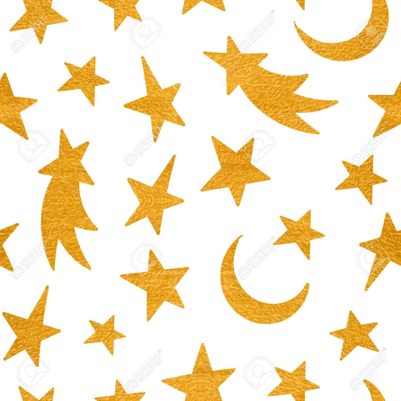 Gold Textura Sin Fisuras Patrón Cósmico De La Estrella, La Luna Y El ...