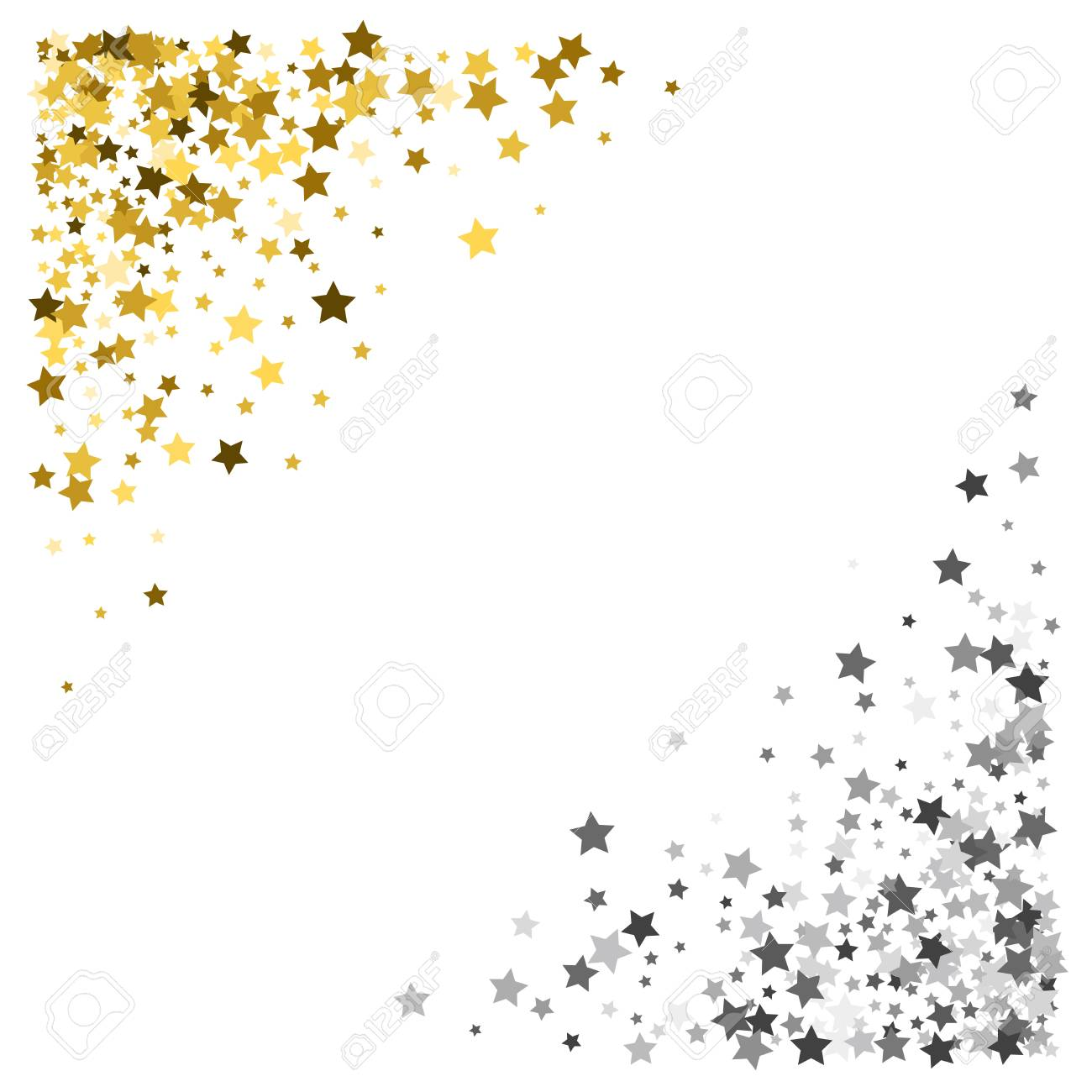 837570ff509c Triangle corner gold and silver frame or border of scatter stars on white  background. Design