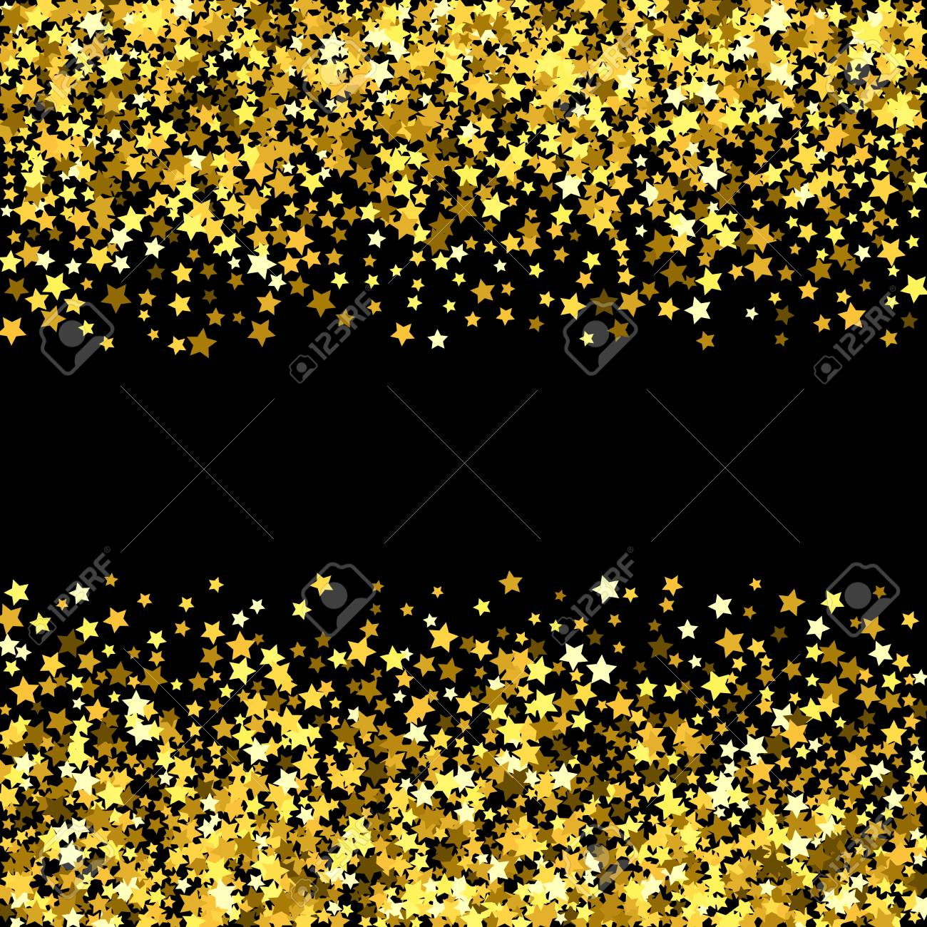 abstract pattern of random falling gold stars on black background