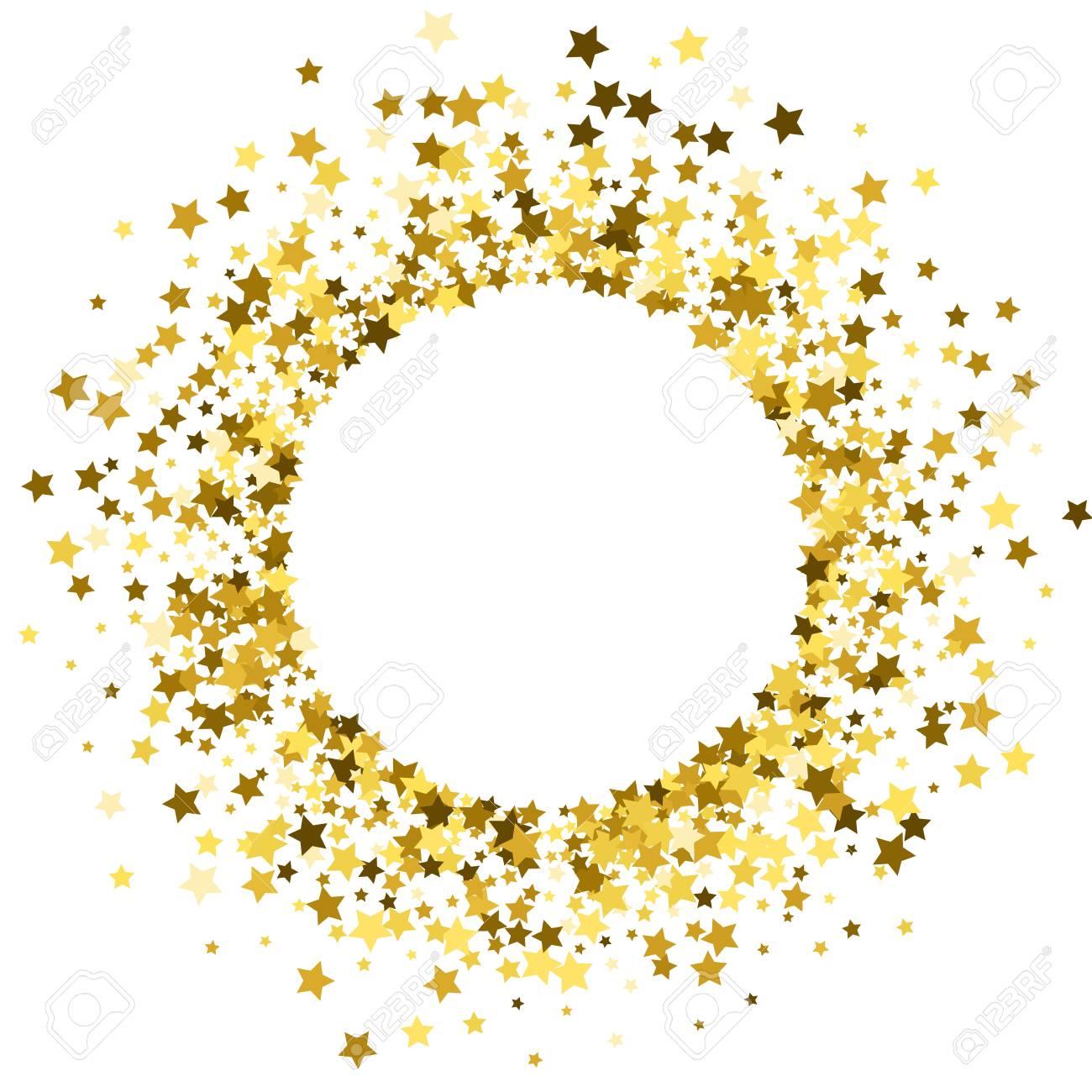Round Gold Frame Or Border Of Random Scatter Golden Stars On