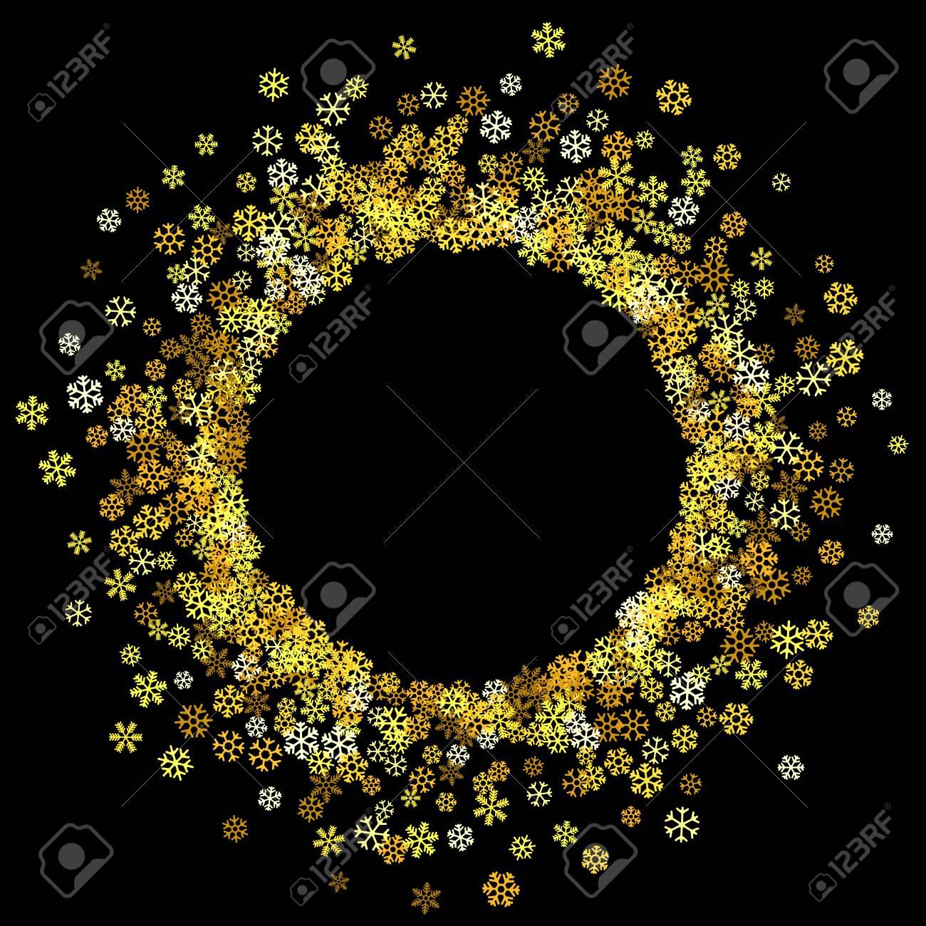 fd9405865a7 Round gold frame or border of random scatter golden snowflakes on black  background. Design element