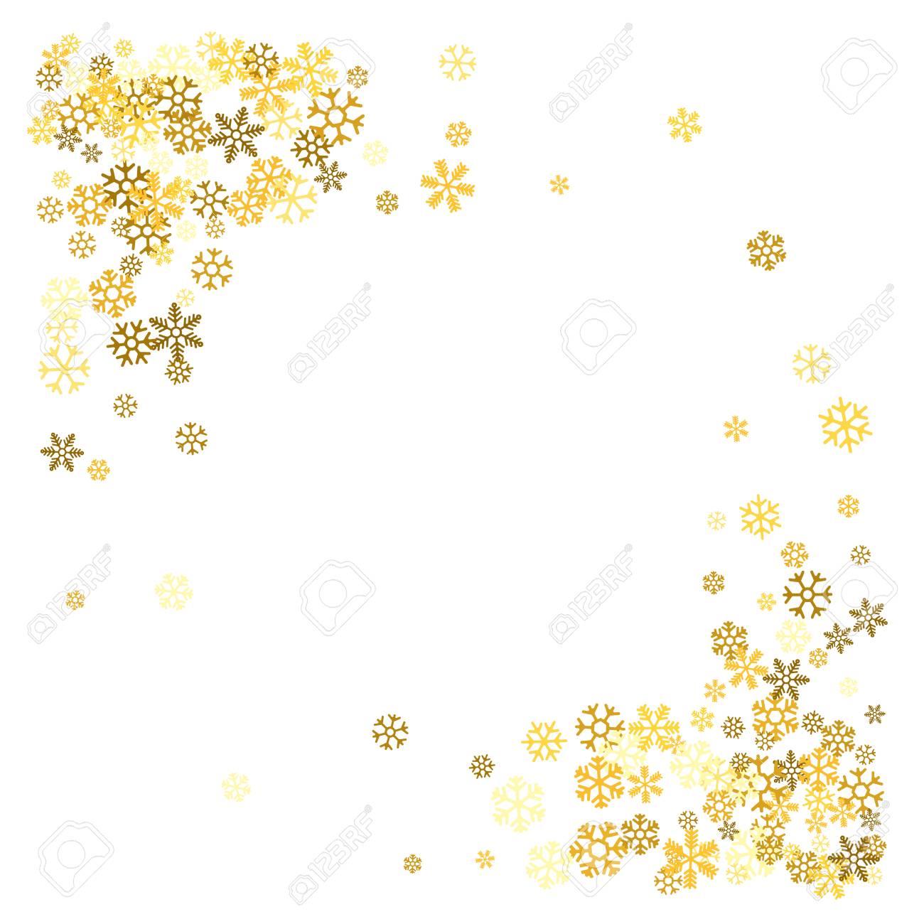 9ee0683b33b Square corner gold frame or border of scatter golden snowflakes on white  background. Design element