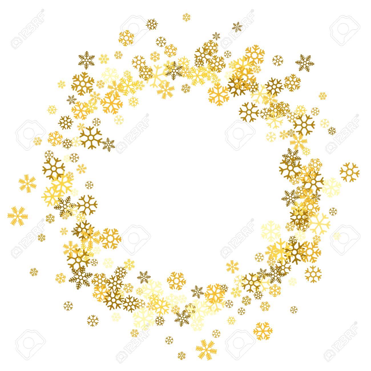 53a30e5cc2e Round gold frame or border of random scatter golden snowflakes on white  background. Design element