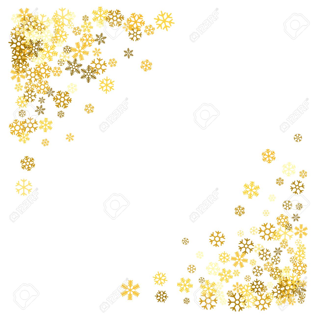 44e2f6b7adee Triangle corner gold frame or border of scatter golden snowflakes on white  background. Design element