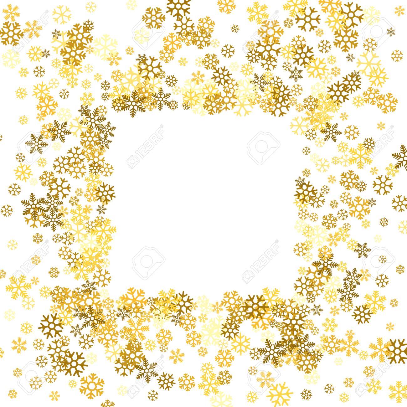 ff3f4701a45 Square gold frame or border of random scatter golden snowflakes on white  background. Design element