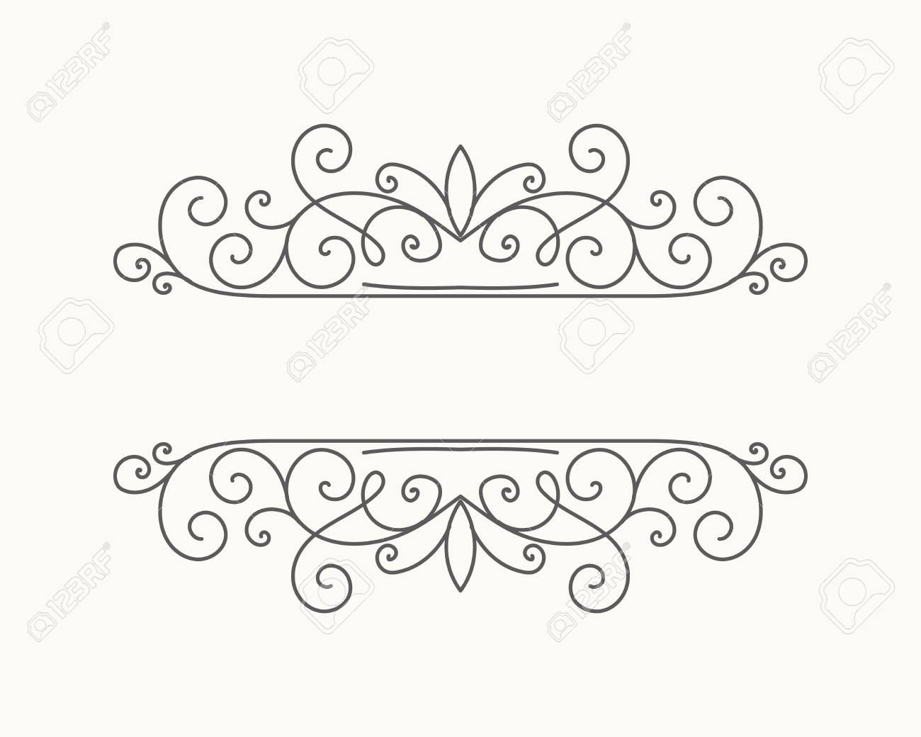 Hand drawn decorative border in retro style with editable stroke. Vintage calligraphic vignette or divider for greeting card, banner, party, wedding invitation, menu, postcard. Vector illustration. - 126749048