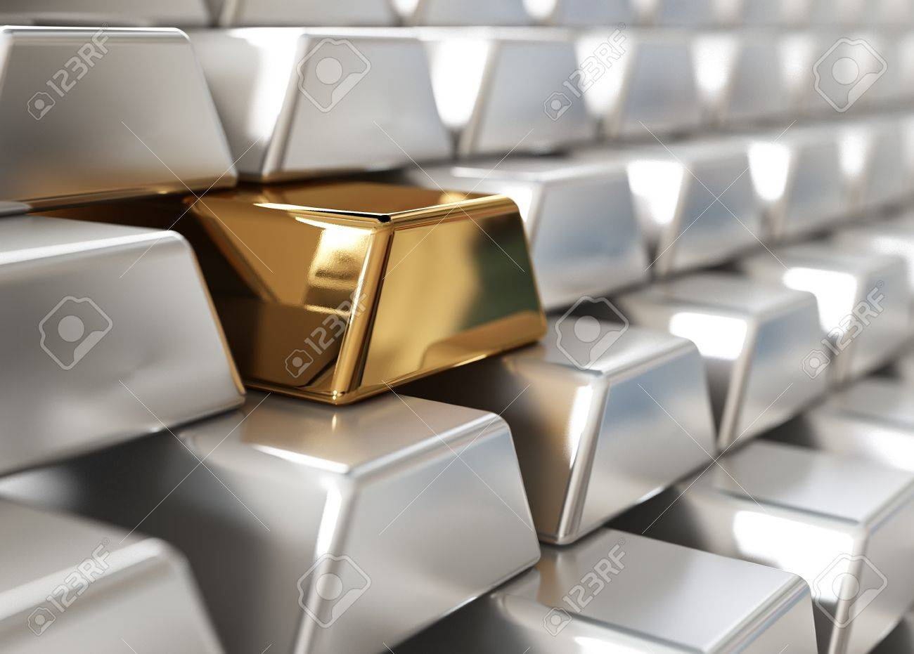 Stack of silver ingots with one golden - 9699219