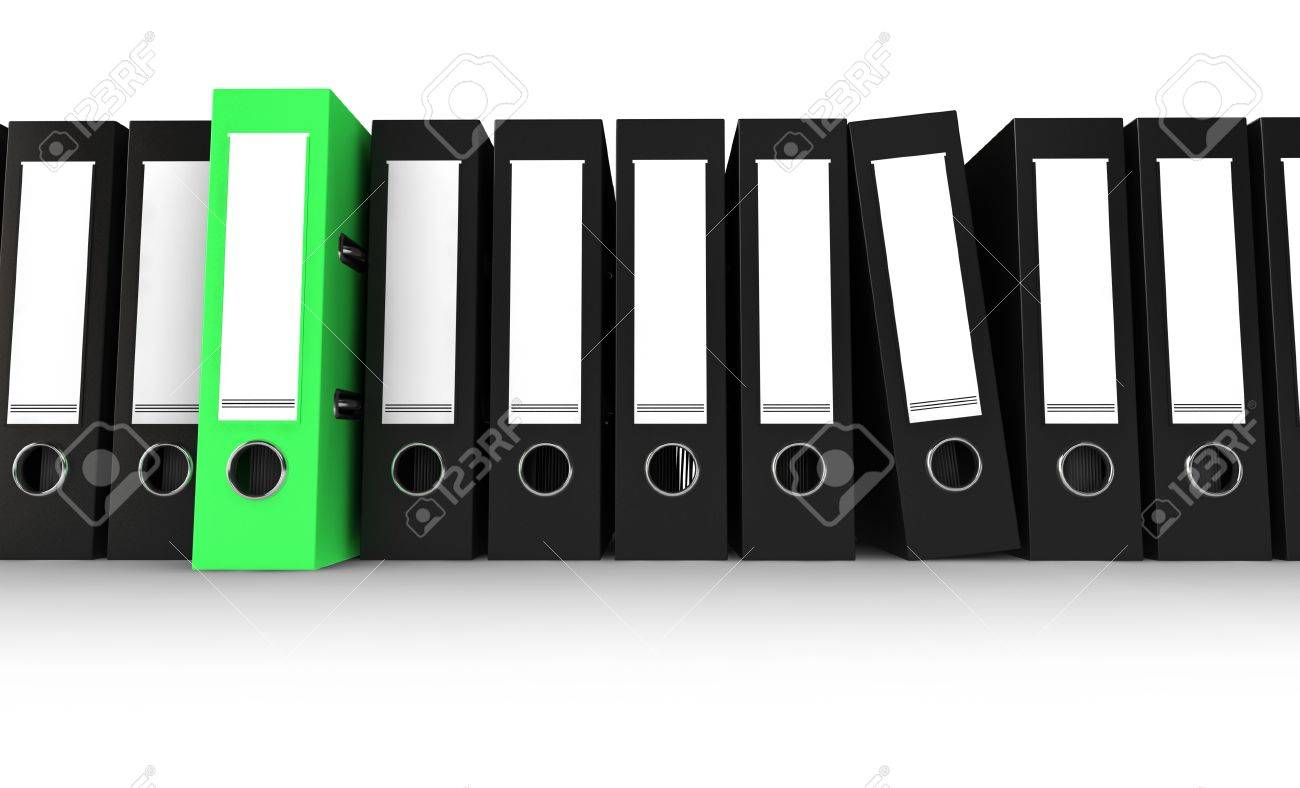 Black Office Folders With One Green Folder Stock Photo, Picture ...