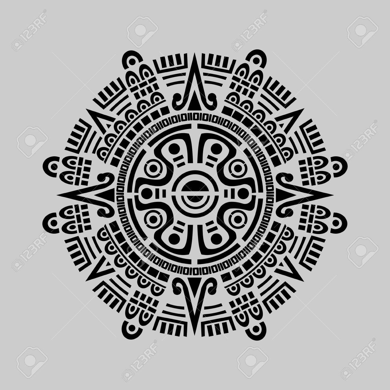 Calendario Maya Vector.Vector Of Mayan Calendar In Grey Background