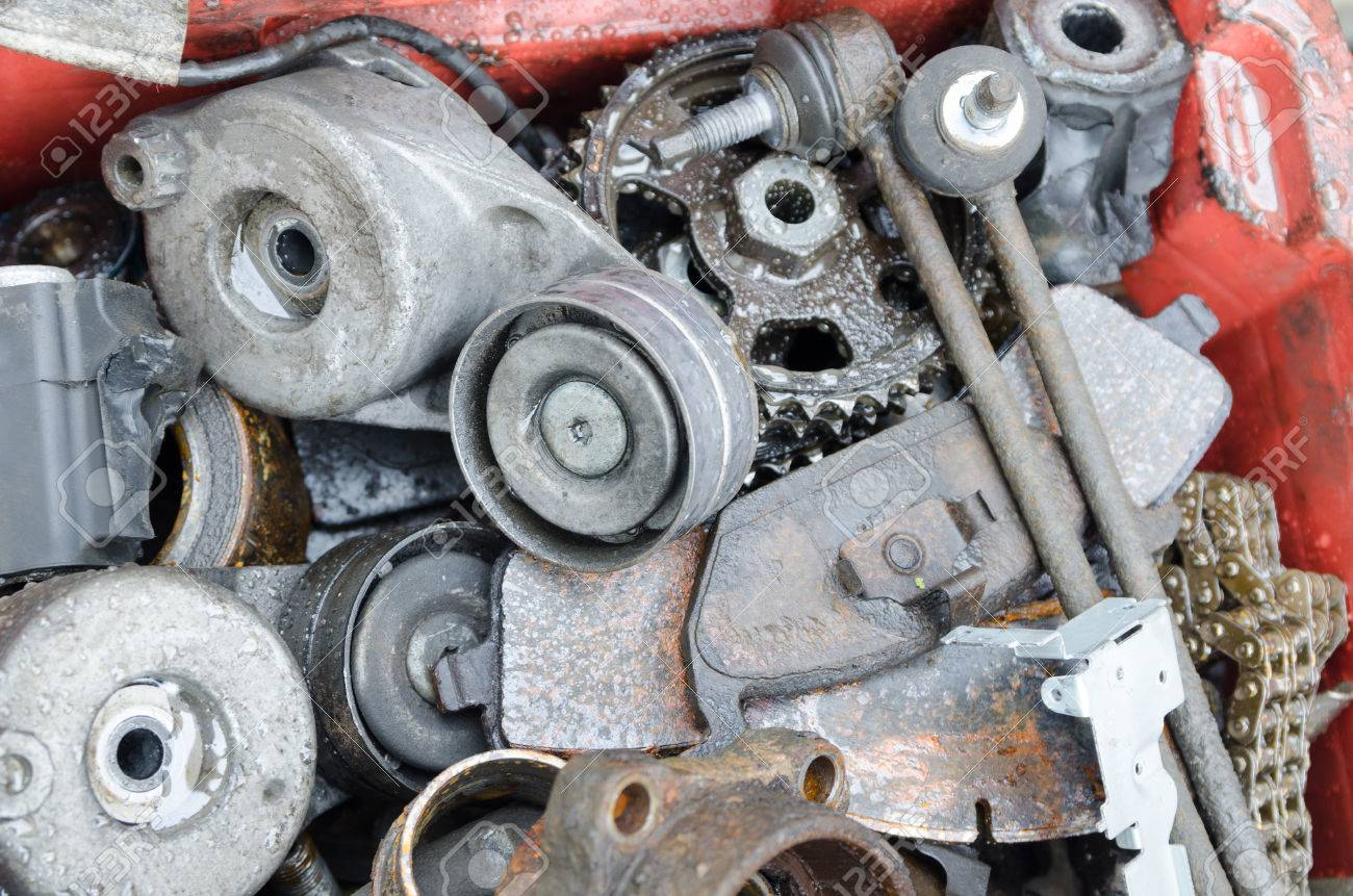 Scrap Metal Old Car Parts In A Garage Stock Photo Picture And