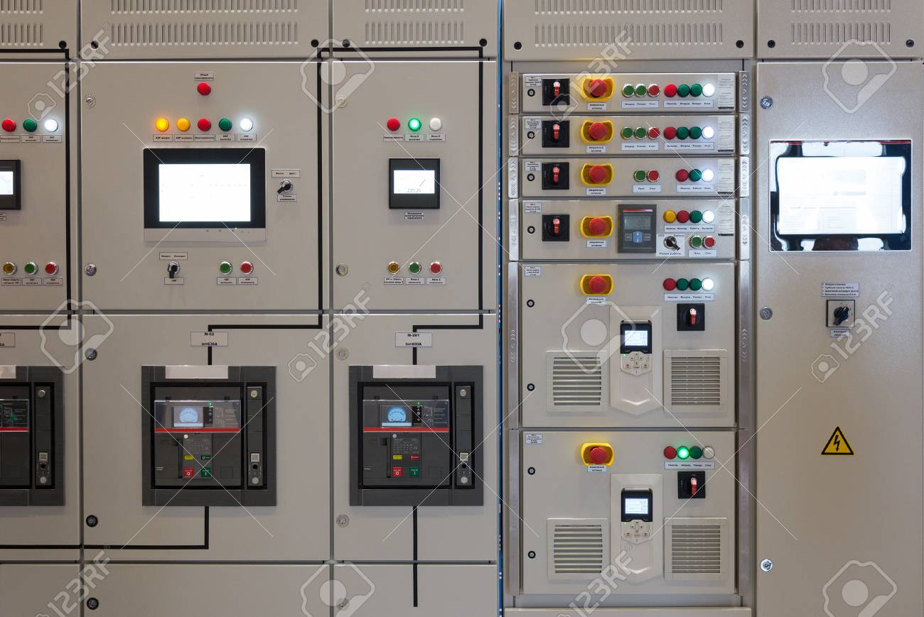 The Industrial Electrical Switch Panel In A Control Room Of A ...