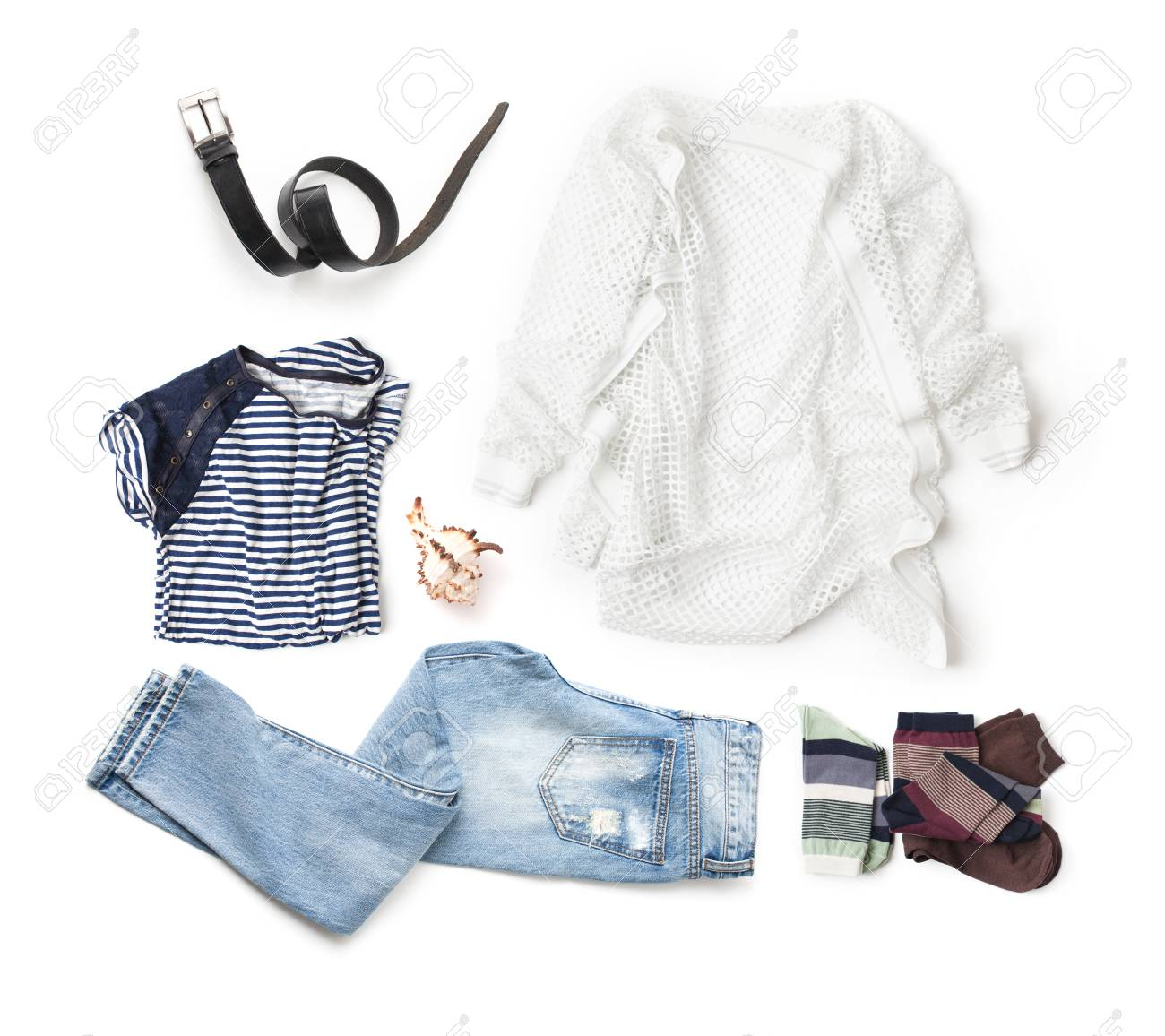 07094344e5d A set of clothes on a white background. Isolated. Stock Photo - 87760951