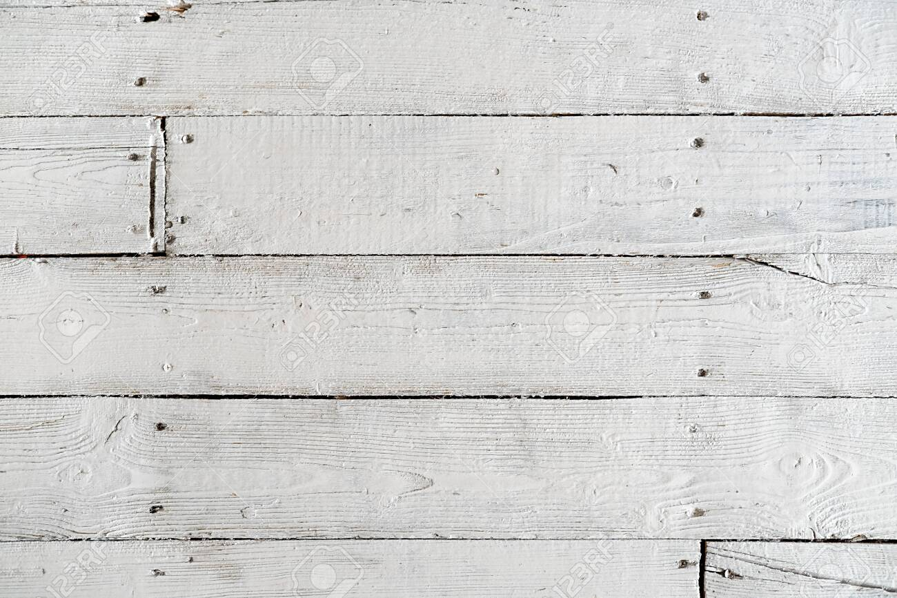 Texture of painted floor boards with white paint - 121497735