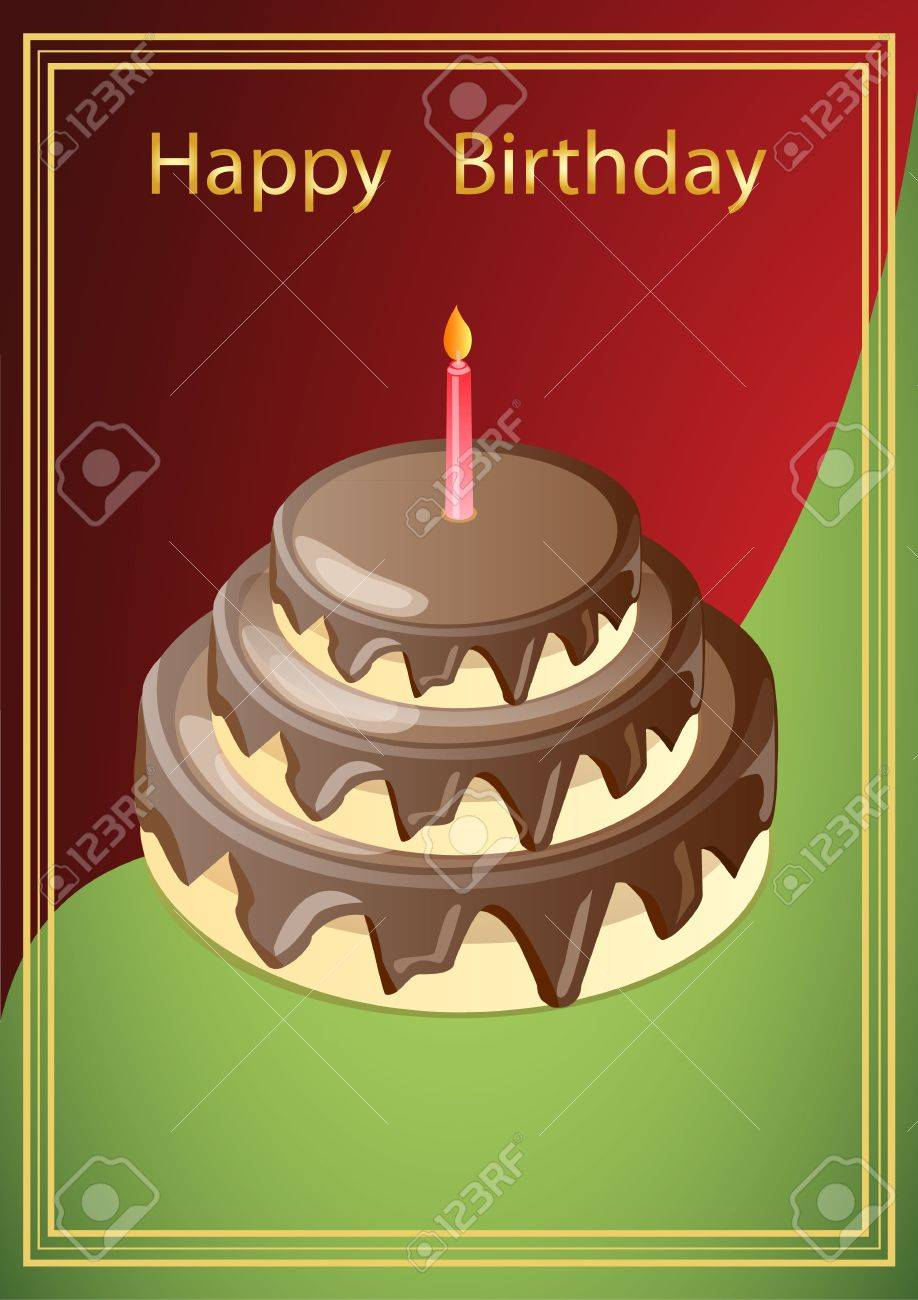 vector illustration greeting card with a picture of chocolate cake with a candle, in a red-green background with the Golden frame Stock Vector - 17952304