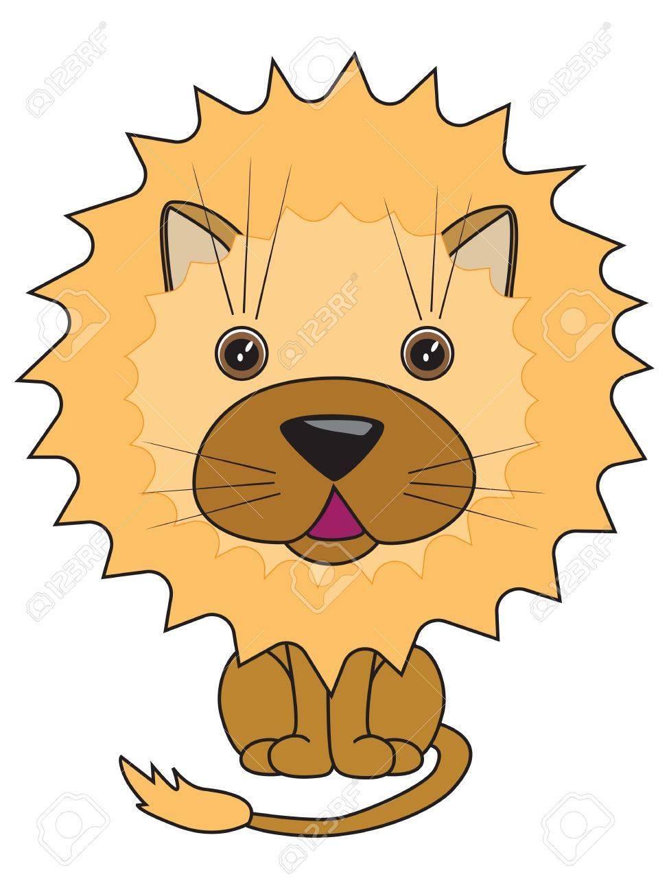 かわいいライオンの漫画イラストのイラスト素材ベクタ Image 18296209
