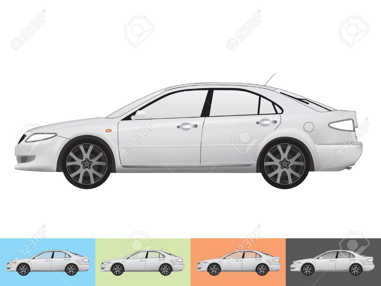 illustration of the car in grey colors on the white and the other backgrounds with a transparent glass Stock Vector - 19021413