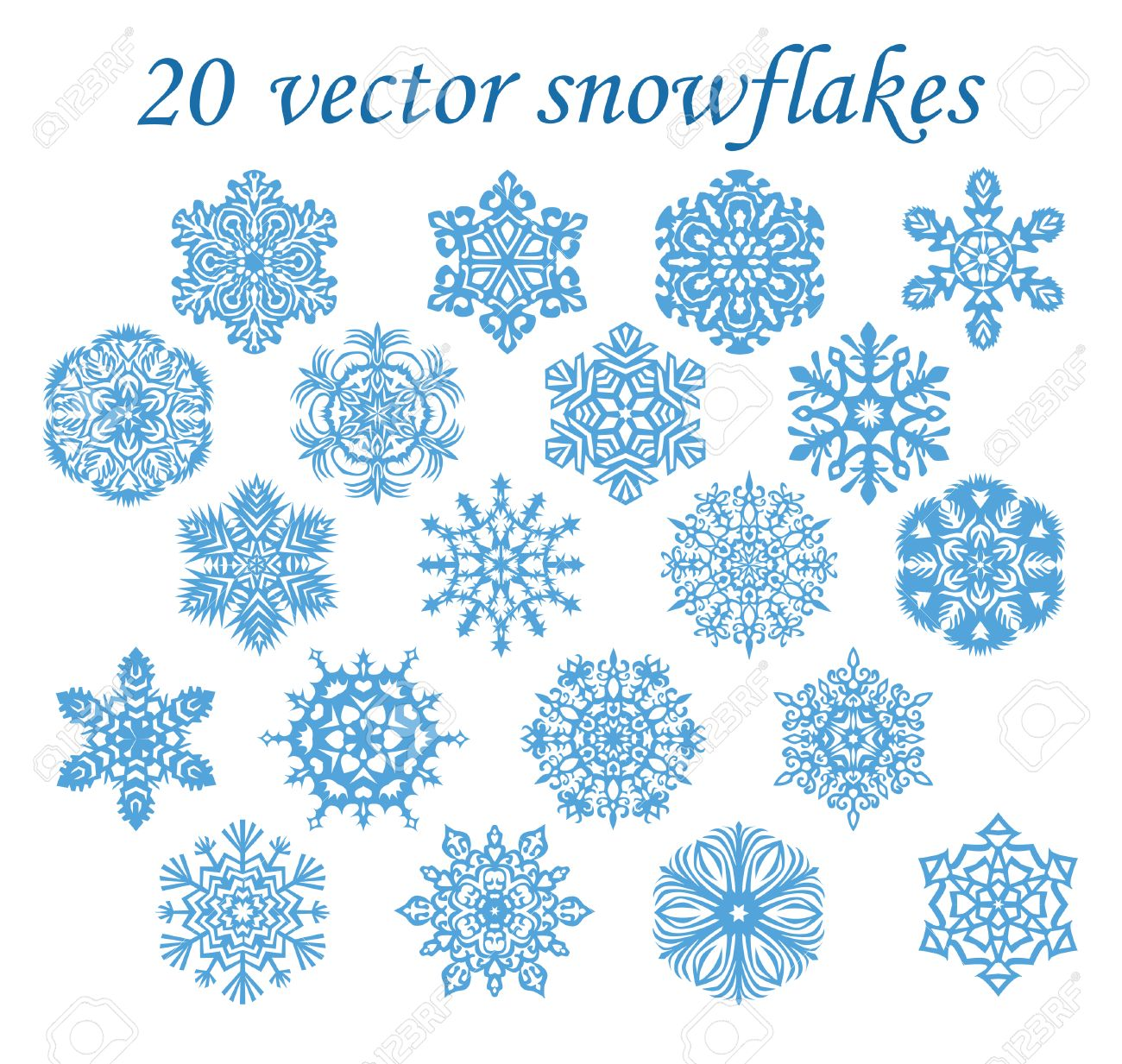Vector Set Blue Snowflakes On Transparent Background Royalty Free ... for Snowflake Clipart Transparent Background  104xkb